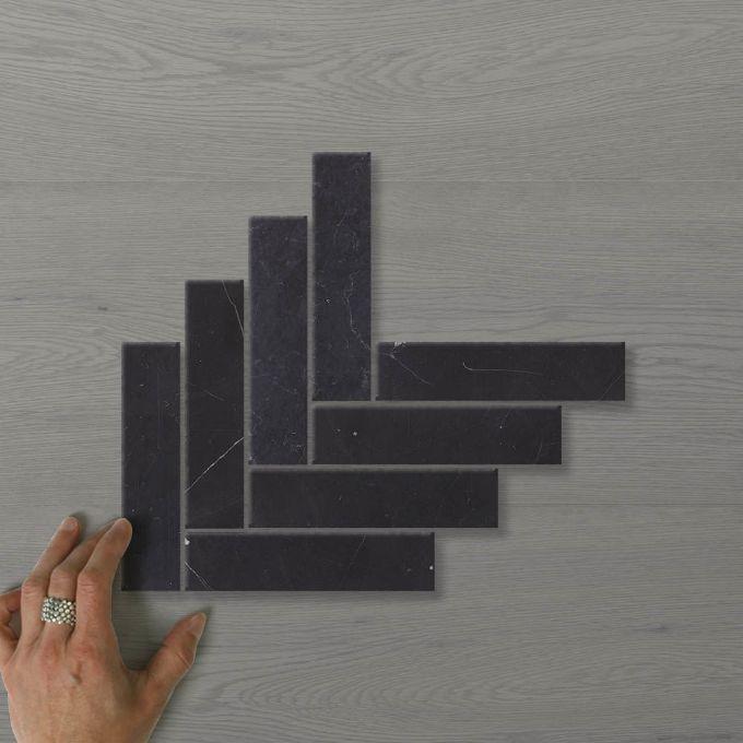 Picture of Marmo Herringbone (150x35) Nero (Honed) 290x290 Sheet (Rectified)
