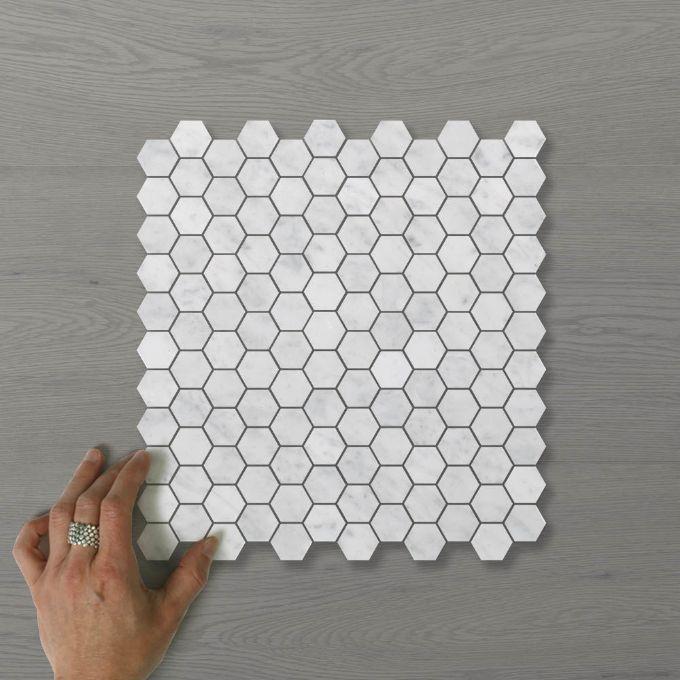 Picture of Marmo Hexagon (30x25) Carrara (Honed) 300x285 Sheet (Rectified)