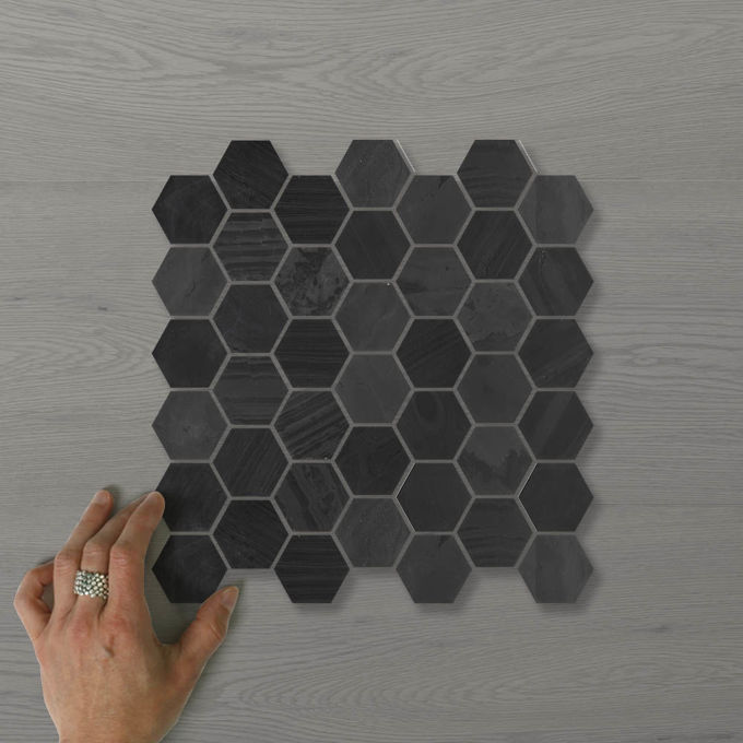 Picture of Marmo Hexagon (55x50) Nero (Honed) 300x300 Sheet (Rectified)