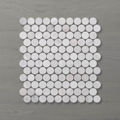 Picture of Marmo Penny Round Carrara (Honed) 325x320 Sheet (Rectified)