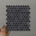 Picture of Marmo Penny Round Nero (Honed) 325x320  Sheet (Rectified)