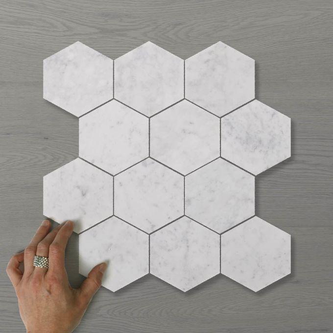 Picture of Marmo Hexagon (110x100) Carrara (Honed) 345x295 Sheet (Rectified)