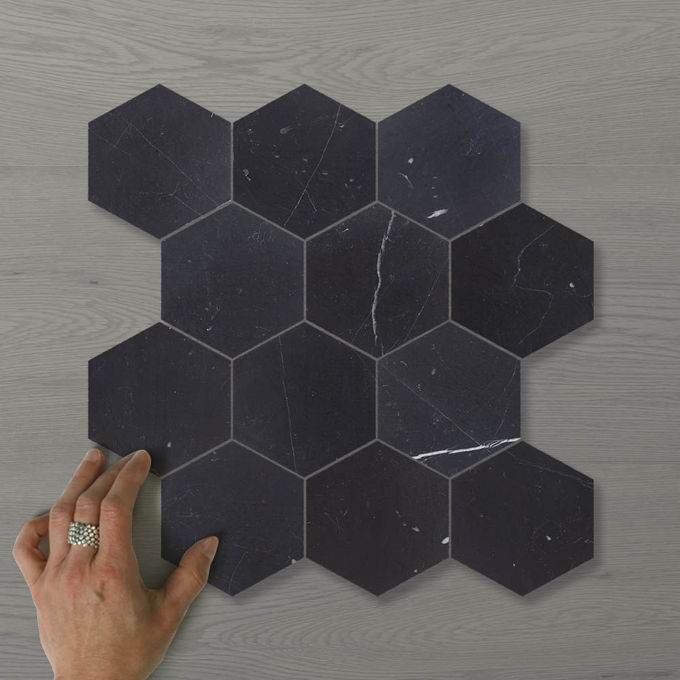 Picture of Marmo Hexagon (110x100) Nero (Honed) 345x295 Sheet (Rectified)
