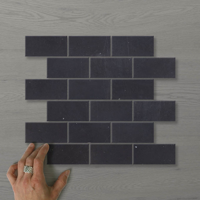Picture of Marmo Brick (100x50) Nero (Honed) 300x300 Sheet (Rectified)